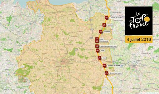 [carte] Le Tour de France sur les routes d'Ille-et-Vilaine, le 4 juillet 2016