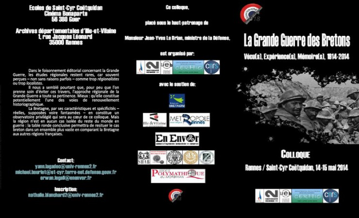 "Colloque ""la Grande Guerre des Bretons 14-15 mai 2014"""